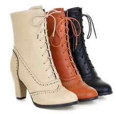 Brogue Womens Knight Mid Calf Boots Lace Up Hot High Heel Round Toe Chunky Shoes