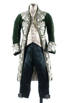 A gentleman's embroidered green velvet court coat and matching ivory satin waistcoat, circa 1790, French.