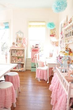Hello Friends!FINALLY....after a year and months gone by I am thrilled to finally take you on a tour of my happy art studio.What started out like this.....Now looks like this...Dreamy, pastel, sugary,pink,vintage childhood nostalgic playground.This is now my other home where I can be…