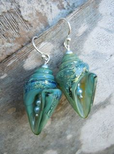 Sparkling Ocean Waves Lampwork Glass Shell Earrings