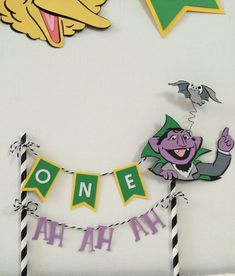 sesame st banner for cake first birthday. Cake poke , can be customized to any name ore birthday year The Count