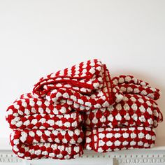 Red and White Stripe Cotton Crochet Blanket - Very country.