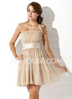 A-Line/Princess One-Shoulder Short/Mini Chiffon BridesMaids dress- prefect for beach wedding