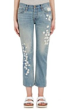 NSF x Bliss and Mischief Embroidered Straight Slouch Jeans at Barneys New York