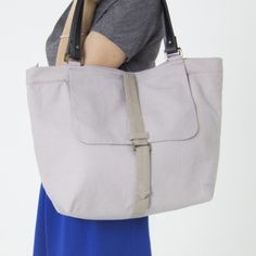 Grand sac toile renforcée et cuir Gris argile Made in France par Jovens