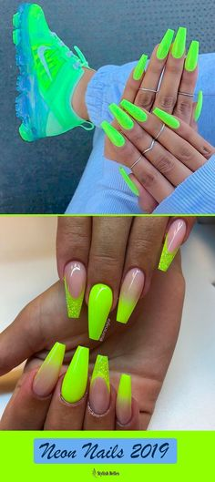 Fancy neon yellow nails coffin design ideas for summer 2019 summernails summernailart summernaildesigns summernailcolors coffinnails neonnails Neon Yellow Nails, Yellow Nail Art, Neon Nails, Bright Nails Neon, Best Acrylic Nails, Summer Acrylic Nails, Summer Nails, Neon Nail Designs, Stiletto Nails