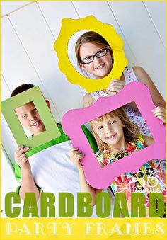 These fun frames are made from cardboard boxes... Use them to decorate a party or as photo props! #birthday #frames: These fun frames are made from cardboard boxes... Use them to decorate a party or as photo props! #birthday #frames