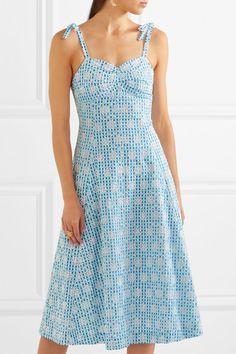 Miguelina | Mina broderie anglaise gingham cotton midi dress | NET-A-PORTER.COM