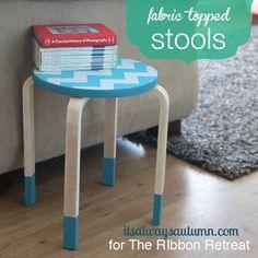 Fabric Topped  Stools - The Ribbon Retreat Blog