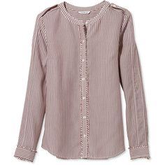 d133422aa4dcfd Stripes add to the sophisticated style of our collarless button-down shirt.  Its silky