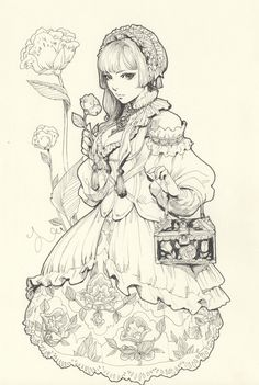 Original Ink Drawing · Yasahime · Online Store Powered by Storenvy Cool Pencil Drawings, Drawing Sketches, Art Drawings, Character Inspiration, Character Art, Character Design, Goth Art, Animal Sketches, Cool Artwork