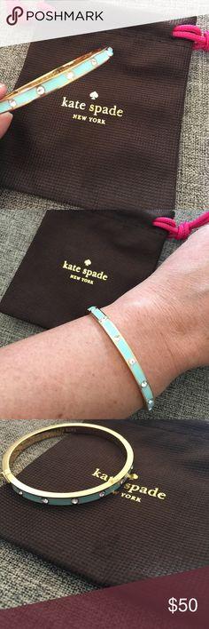 Kate Spade - Mint & Gold Clasp Bracelet. Kate Spade - Mint & Gold Clasp Bracelet. Mint bracelet with silver gemstones and gold base and sides. kate spade Jewelry Bracelets