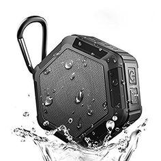 Portable Waterproof Bluetooth Speaker Wireless Speaker NFC Mini Outdoor HIFI Speaker Box Hands-Free Speakerphone with Built-in MIC, Stereo Sound, over 8 Hours Playtime-Black
