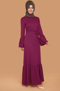C.M.N - Elvide Fırfırlı Elbise KWL3040 Şarabi (1)