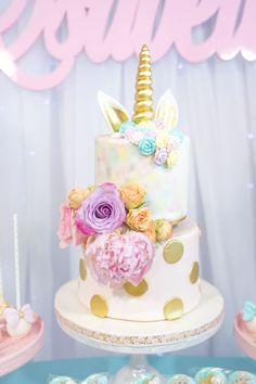 Unicorn cake from a Magical Unicorn Birthday Party on Kara's Party Ideas | KarasPartyIdeas.com (14)