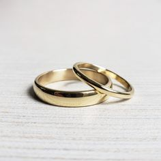 Domed Half Round Rings in Yellow or Rose or Gold, Polished or Matte. Matching Wedding Band Sets, Or Rose, Rose Gold, Gold Wedding Rings, Matte Gold, Gold Bands, 18k Gold, Just For You, Traditional