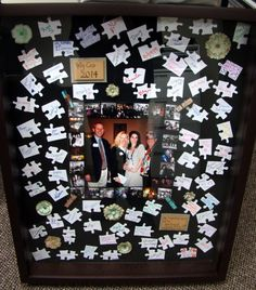 """You're An Important Piece of the Puzzle"" Photo Shadowbox--I think it would be a GREAT teacher gift, or maybe for a grandparent and all the family members would sign, or a work gift!"