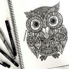 Zentangle Owl by vivianhitsugaya on deviantART by Bettyblue Doodles Zentangles, Zentangle Patterns, Zentangle Animal, Zentangle Elephant, Easy Zentangle, Doodle Inspiration, Tattoo Inspiration, Tumblr Drawings, Art Drawings