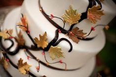Autumn leaf wedding cake by Teske Goldsworthy Dalisa Dark Red, Dark Brown, Just A Little, Stems, Autumn Leaves, Panna Cotta, Wedding Cakes, Berries, Wire
