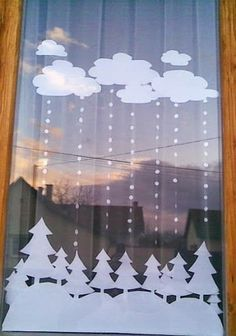 Christmas window decoration, trees and clouds