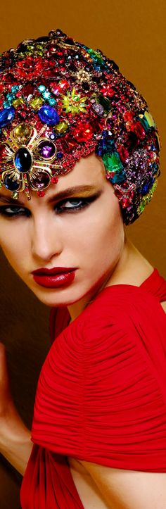 House of Accessories / karen cox / Marc Bouwer bejeweled and embellished - crystal head piece / hat