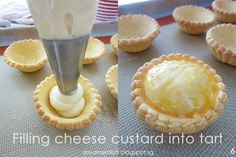 *** As of 3 May have baked 2 more batches of tarts with variations to the recipe. Visit http:& Bake Cheese Tart, Cheese Tarts, Cookie Recipes, Dessert Recipes, Desserts, Hokkaido Baked Cheese Tart, Resep Cake, Cheese Tasting, Custard Cake