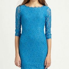 Diane von Furstenberg Zarita Lace Dress    — Gorgeous floral lace romances this fitted sheath, offset by sheer sleeves for subtle, skin-baring chic.
