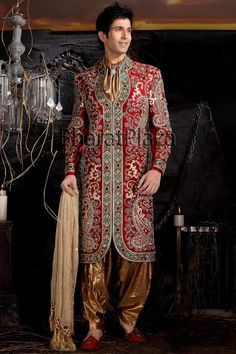 Buy red sherwani on your wedding from the latest collection of Sherwani for Groom. This has perfect wedding sherwani which is completely designed and heavily embroidered by our designer and we are offering discounts on these sherwani. Grab it soon because this is limited time offer.   Instead Of $380 You can get this Sherwani in $300.  For any queries email us at support@mensweddingsherwanis.com