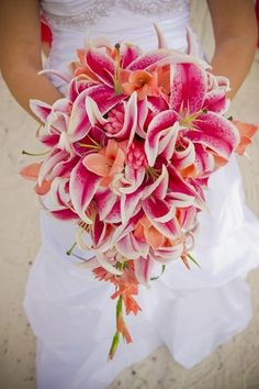 I love this joyful, elegant, cascading bouquet. I would like something similar to this for my wedding. I love the lilies but I don't know if they would match our navy/coral wedding scheme.    tropical bouquet by riczkho