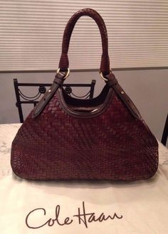 Cole Haan Genevieve Woven Leather Weave Brown Hobo Tote Bag Handbag Purse EUC! #ColeHaan #TotesShoppers GORGEOUS!!! BEAUTIFUL WOVEN LEATHER WEAVE TRIANGLE BAG IN A LUSCIOUS CHOCOLATE BROWN COLOR!!! RARE!!! SALE!!! WOW!!!