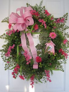 PINK by funflorals on Etsy     Use small evergreen wreath and fill in with greenery.