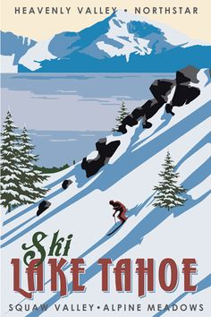 Just Looking Gallery - Steve Thomas Ski Lake Tahoe Ski Vintage, Vintage Ski Posters, Retro Poster, Photo Vintage, Vintage Winter, Wedding Vintage, Old Posters, Steve Thomas, Vintage California
