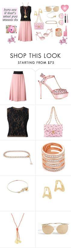 """Love me"" by jamuna-kaalla ❤ liked on Polyvore featuring MSGM, Sergio Rossi, Guild Prime, Chanel, Bronzallure, Versace, Gabriela Artigas, Emily & Ashley, Linda Farrow and vintage"