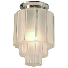 French Art Deco Skyscraper Flush Mount Lighting Fixture, Clear & Frosted Glass | From a unique collection of antique and modern flush mount at https://www.1stdibs.com/furniture/lighting/flush-mount-ceiling-lights/