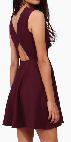 Burgundy Cutout Criss-Coss Back Dress ♡ L.O.V.E.