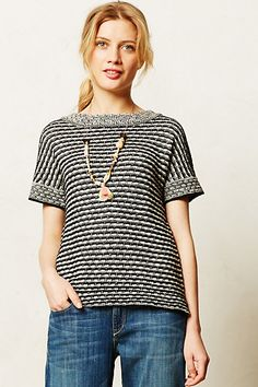 Anthropologie: Greta Striped Pullover, $88. Comes in petite. Field Flower, so S or M, looks oversized.