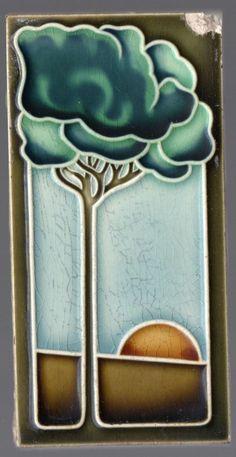 Stunning ca1900 Original Art Nouveau Majolica tile tree & sunrise 5 colors (12) #ArtNouveau #Tiles #Grohn