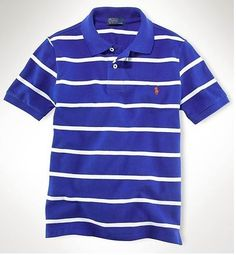 23e0559f Ralph Lauren Men's Custom-Fit Striped Short Sleeve Polo Shirt Royal Blue /  White http