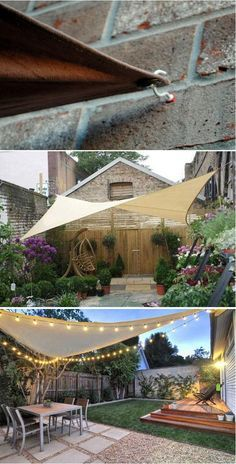 10 Exciting DIY Ideas to Build a Shady Space for Patio A SHADE SAIL CANOPY easily provides cool patio space with a beautiful look. To build it, just need three points up to four to secure the shade. Cup hooks and S hooks are also easy to get. Backyard Shade, Outdoor Shade, Pergola Shade, Shade Garden, Indoor Outdoor, Patio Pergola, Diy Patio, Backyard Patio, Backyard Landscaping