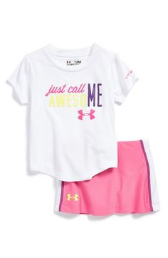 Free shipping and returns on Under Armour 'Call Me Awesome' HeatGear® Graphic Tee & Skirt (Baby Girls) at Nordstrom.com. She'll show off her confidence in this sporty logo tee and skirt, both cut from signature HeatGear fabric to keep her cool and dry while she's on the tennis court or practicing cheers.