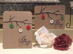 Rustic Buttons DIY Christmas Card.