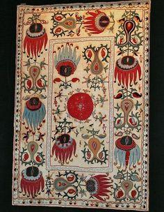 Uzbek suzani, very rare design, silk embroidery, 19th c. Central Asia.