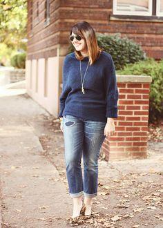 evereve blue drapey sweater