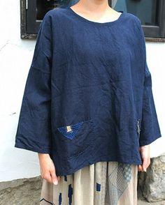 """""""SASAKI-JIRUSHI"""" French antique indigo linen long sleeve blouse with patched Japanese Boro pocket Made by us Material:Antique linen Patched:Japanese Boro Color:Over-dyed,dark indigo Size:Free  #antiquelinen #Frenchlinen #linenblouse #linenshirt #indigo #indigoshirt #handmade #remade #etsy #etsyvintage #sasakijirushi #sasakiyohinten"""