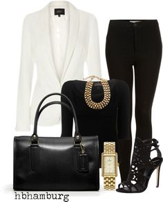 """""""No. 215 - Black & White"""" by hbhamburg ❤ liked on Polyvore"""