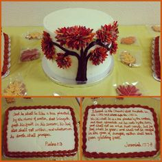 Tree Cake, Bible Verse Cake, Fall Cake confection.connection's photo on Instagram