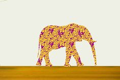 Elephant  Fabric Wall Decals with Decorative Fills by Popitay, $47.00