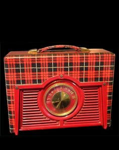 Vintage Tartan Portable Radio So Cute