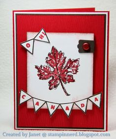Cute Canada Day card by Janet. She used Gently Falling, Woodgrain, and the Designer Typeset Photopolymer. Canada Day 150, Happy Canada Day, Goodbye Cards, Canada Holiday, Canada Images, Card Making Inspiration, Stampin Up Cards, Birthday Cards, Paper Crafts