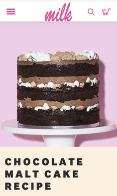 Milk Bar's Chocolate Malt Cake is chocolate cake layered with malted fudge, malted milk crumbs and charred marshmallows all topped with malted chocolate frosting! Chocolate Malt Cake, Chocolate Frosting Recipes, Chocolate Truffles, Bar Recipes, Dessert Recipes, Desserts, Gourmet Cakes, Malted Milk, Milk Cake